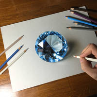 Drawing of a blue gemstone