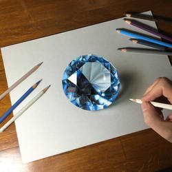 Drawing of a blue gemstone