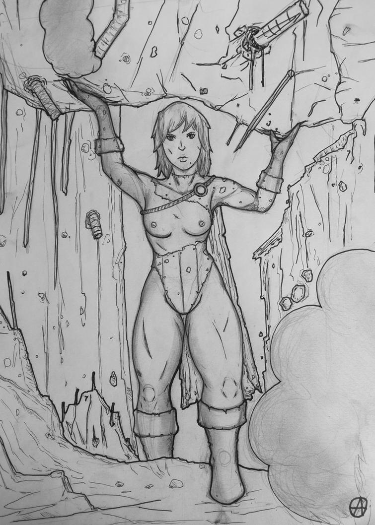 power girl in trouble  by arepa999