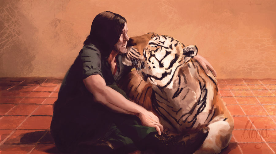 Daryl and Shiva fanart by bbluyei