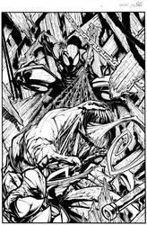 venom spiderman inks by Sandoval-Art