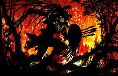 Aztec Jaguar Warrior by Sandoval-Art
