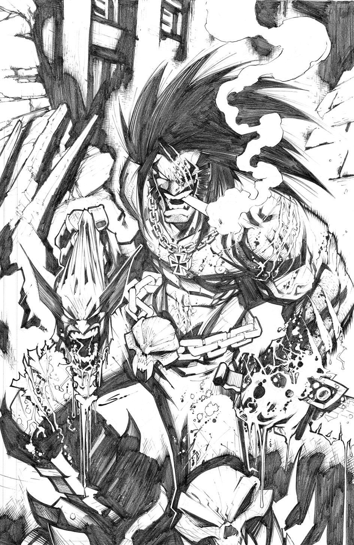 Lobo vs Wolverine black and white
