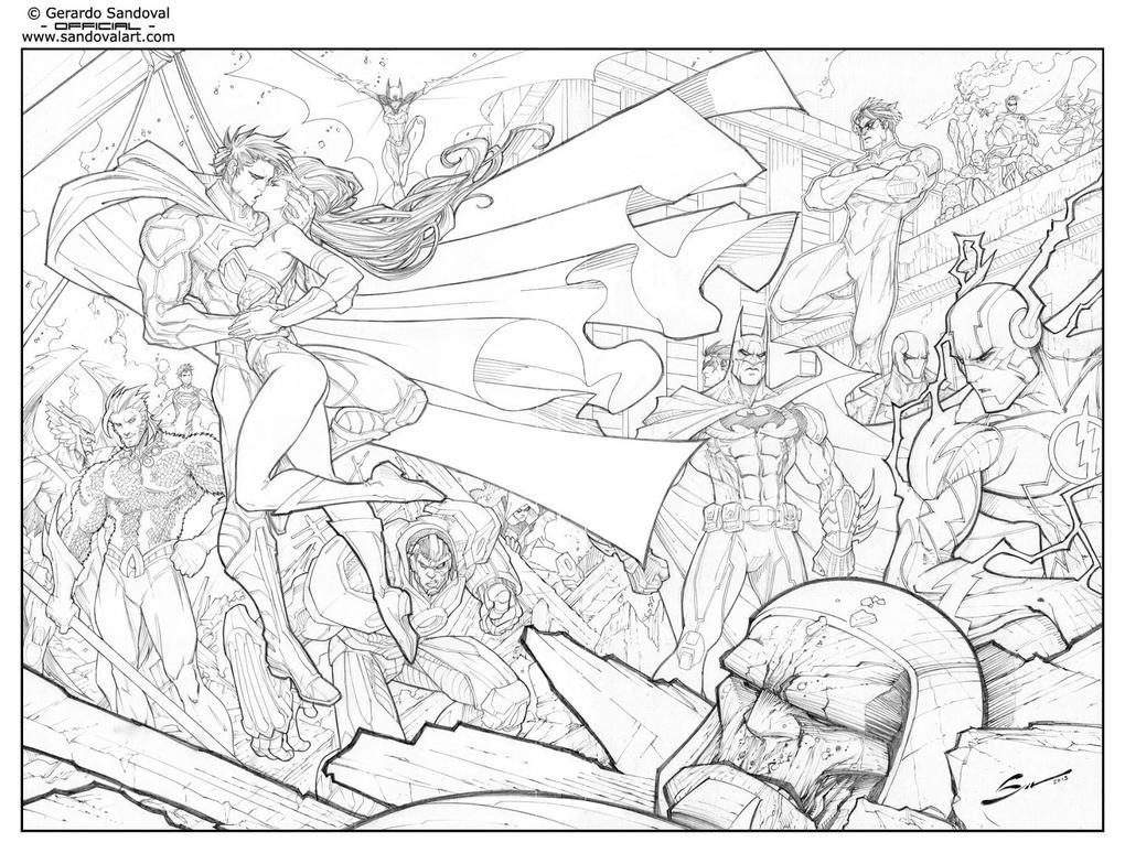 Line Art Comic : Justice league dc comics universe by sandoval art on
