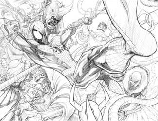 Spiderman vs Enemies by Sandoval-Art