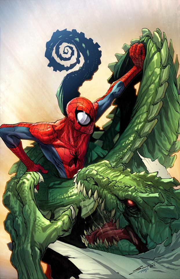 Spiderman vs Lizard colored by Sandoval-Art