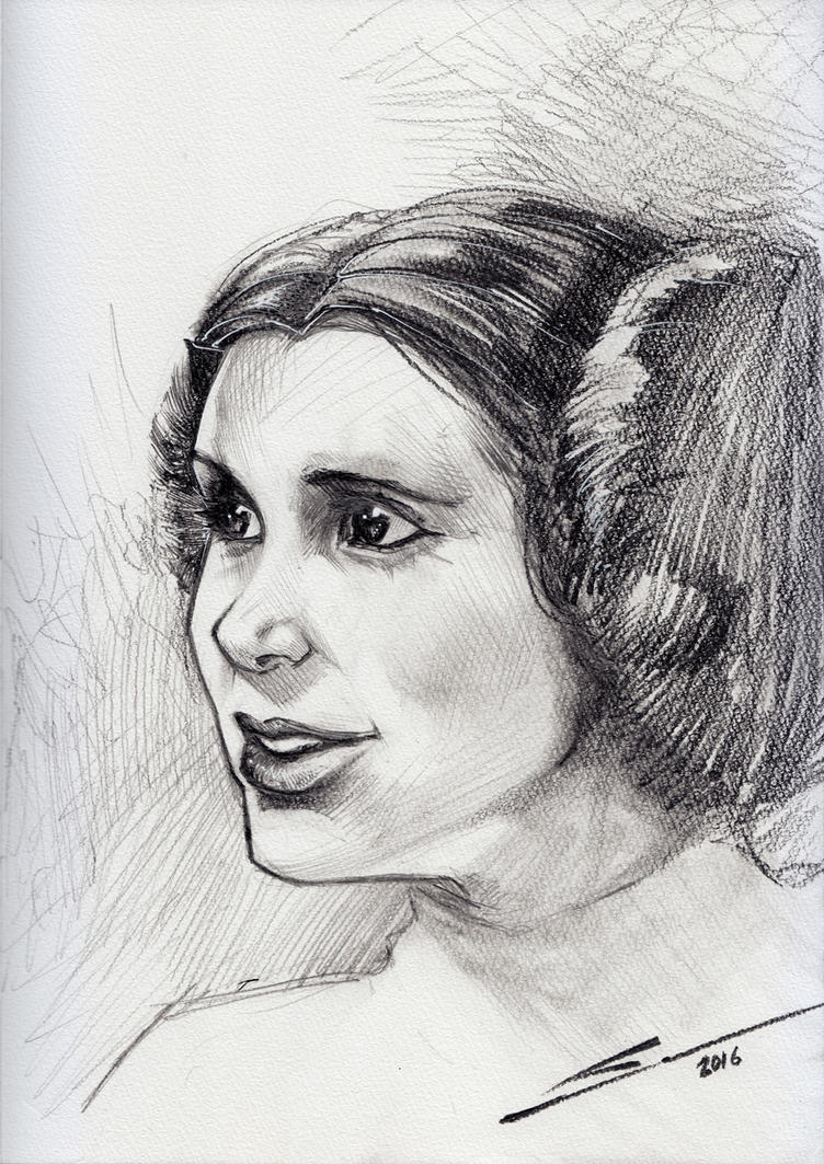 CARRIE FISHER 1956 - 2016 by Sandoval-Art