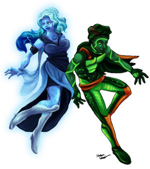 Steven Universe OCs: Jade and Azurite(Commission)