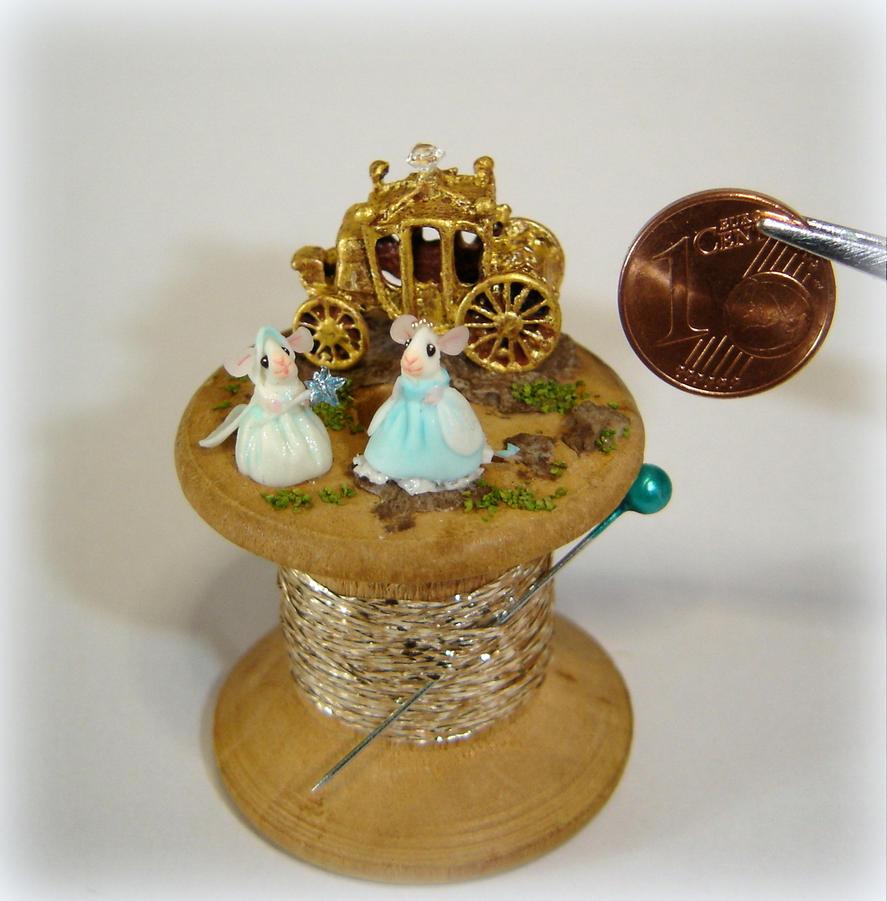 Cinderella - Miniature mice on spool by Fairiesworkshop