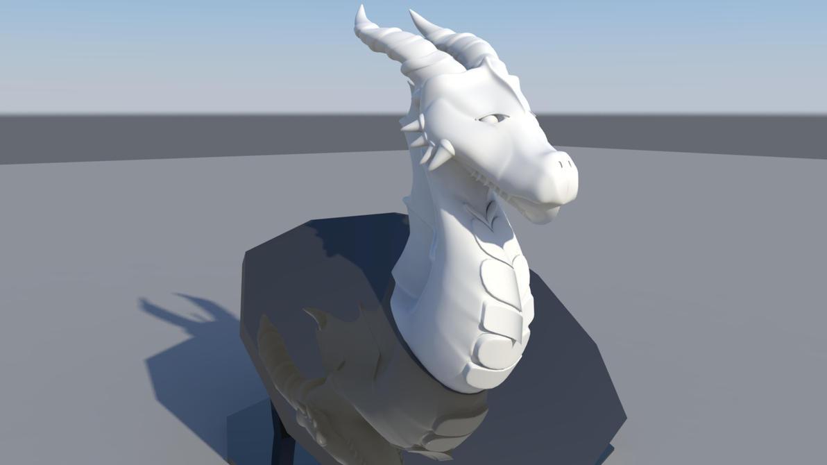 Dragon Head Sculpture AUTODESK MAYA 2016 by ArtisticNinja