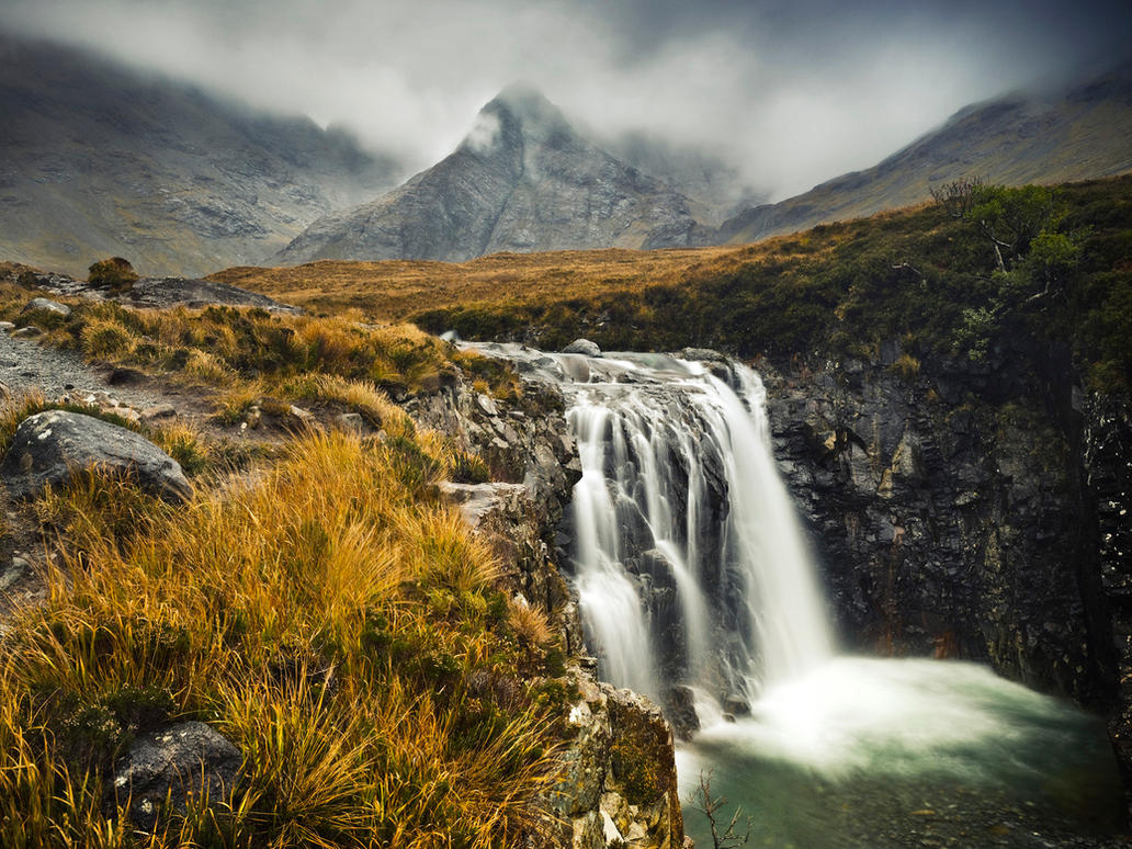 Misty Mountain Waterfall. Isle of Skye - Scotland by Detrucci