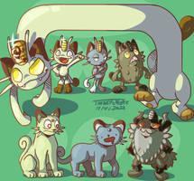 Coin collectin' cats (Meowth forms 'n evos)