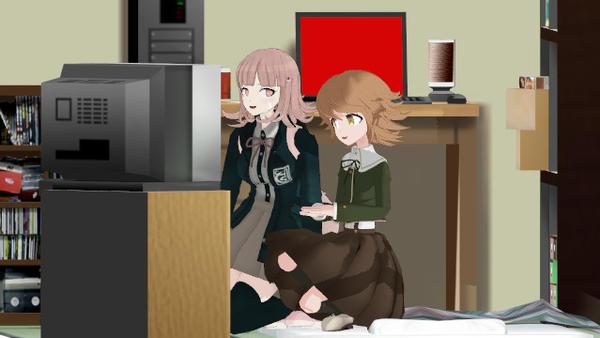 Chiaki and Chihiro watching TV by darkclaw641