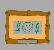 Mr. Krabs' First $1 with Crayon by matiriani28