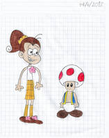 Luan Loud meeting Toad from Super Mario Odyssey by matiriani28