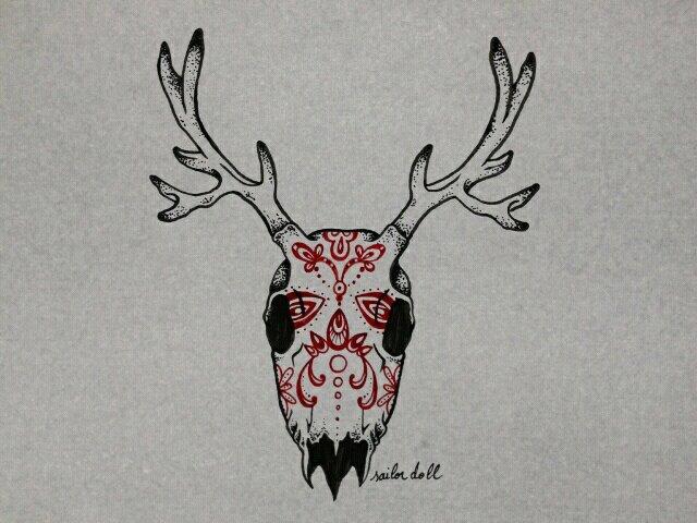 Sugarskull deer by ChimaeraUniverse