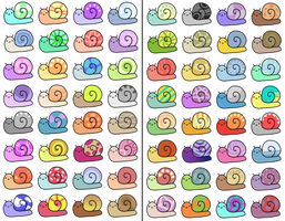happy snail adoptables - 52/64 OPEN by OakAdopts