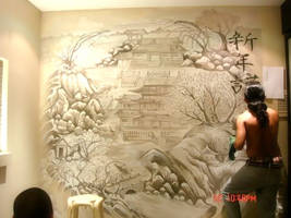 japanese mural painting by bloodlust25