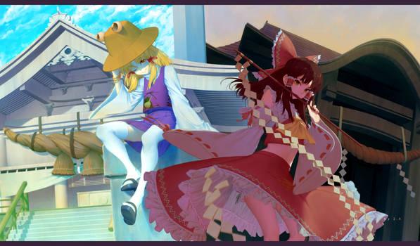 Reimu and Moriya