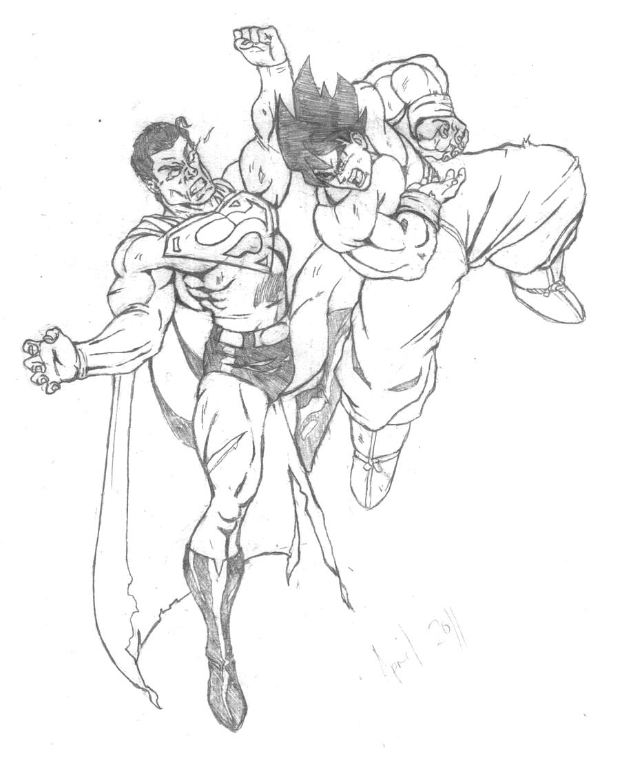 Goku Vs Superman Drawings