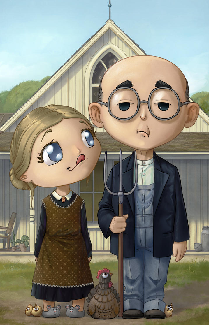 American Gothic Chibified by Darkodev
