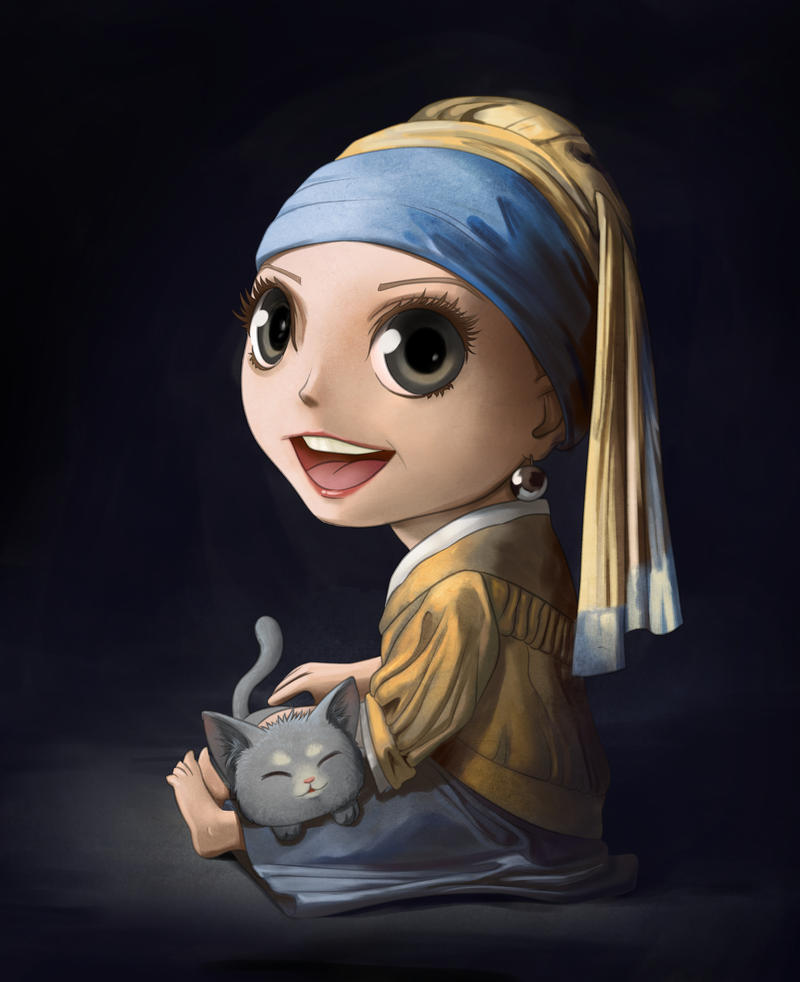 Girl with pearl earring chibified by Darkodev