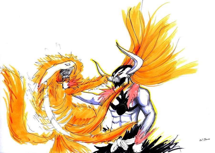 commission - hollow ichigo vs kyubi naruto by nathaniel2k ...