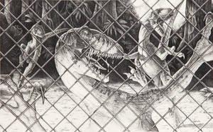 Jurassic Park - Raptors Behind a Fence by IHeartJurassicPark