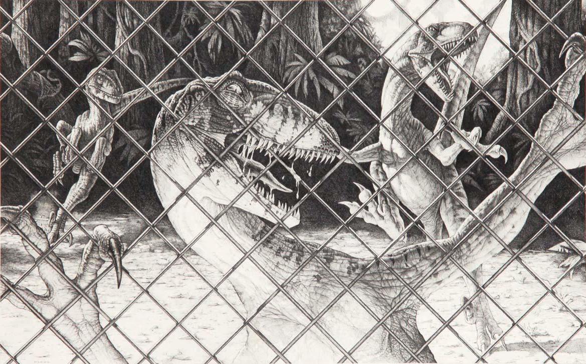 Jurassic park card 3 by chicagocubsfan24 on deviantart - Jurassic Park Raptors Behind A Fence By Iheartjurassicpark