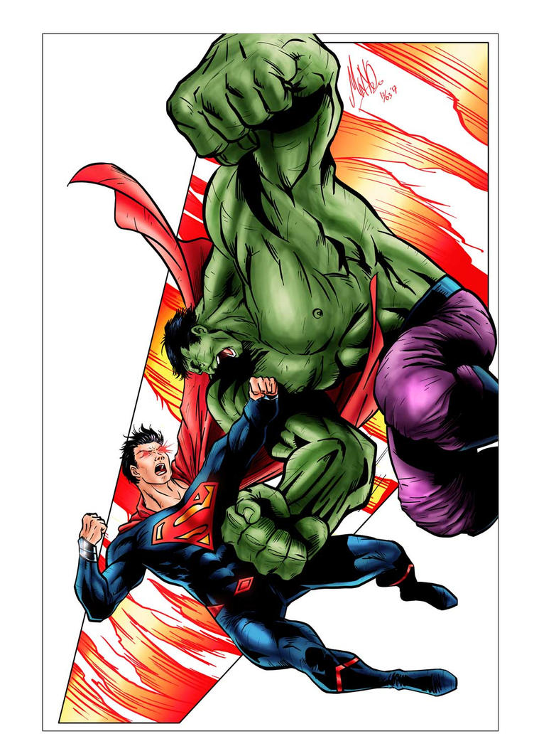 Commission Hulk VS Superman by manowolvie