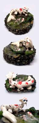 Koi Dragon Pond Sculpt (SOLD)