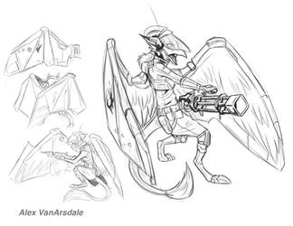 Space Gryphon Armored Wings by AlexVanArsdale