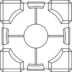 Portal Cube Lineart