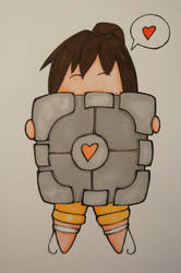 Chell and the Companion Cube