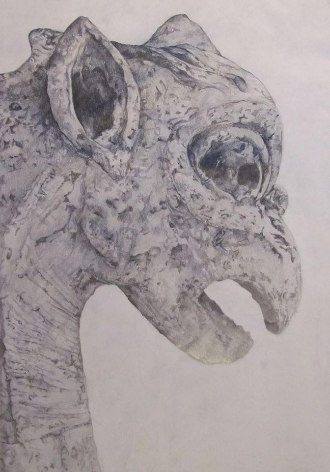 Gargoyles carved from Graphite