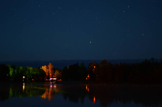 Night shot of Nellie Lake
