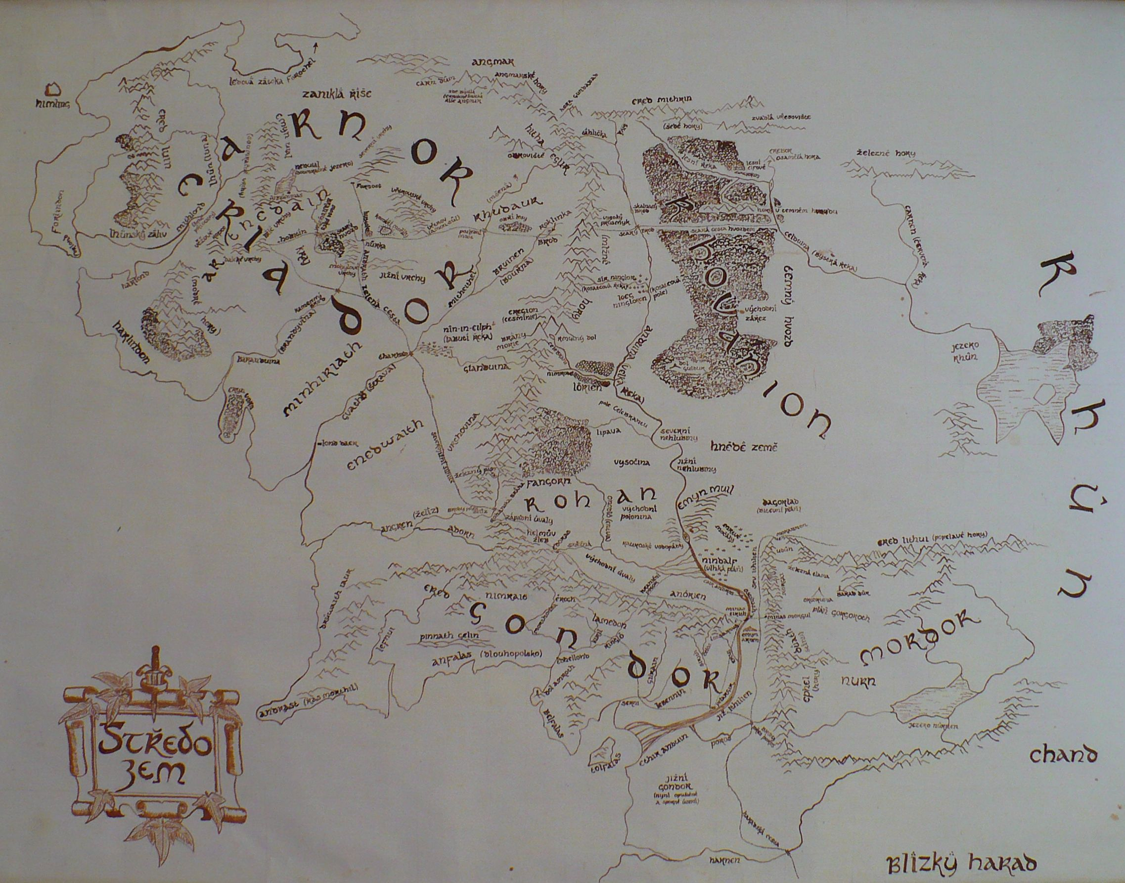 the map of middle earth by mirachravaia