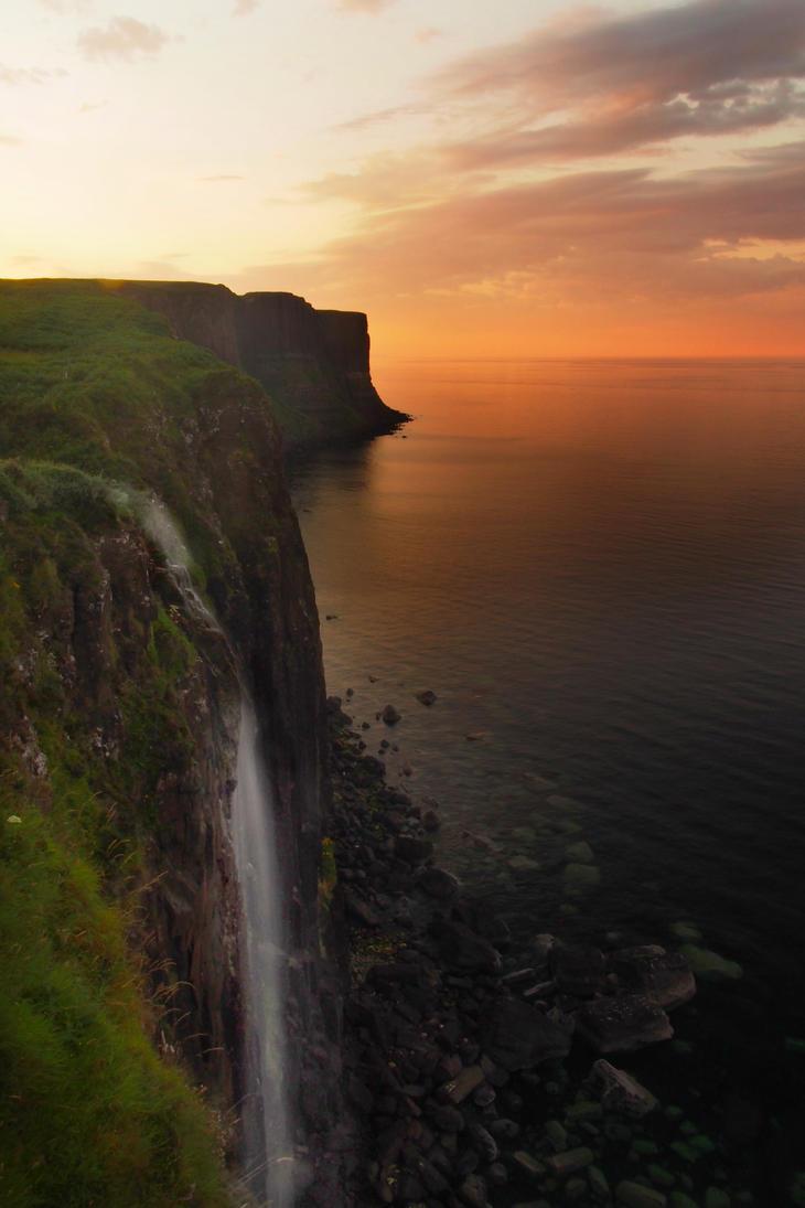 Kilt rock falls in sunset by MirachRavaia