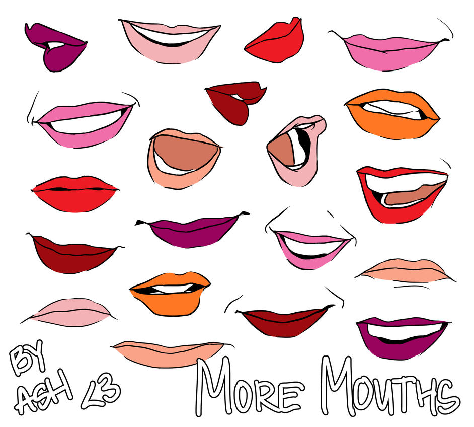 how to draw kissing mouths