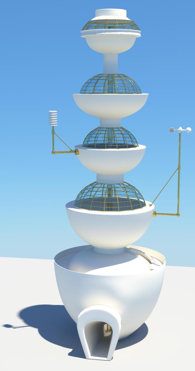 Retro Futuristic Tower 1 by Cymae