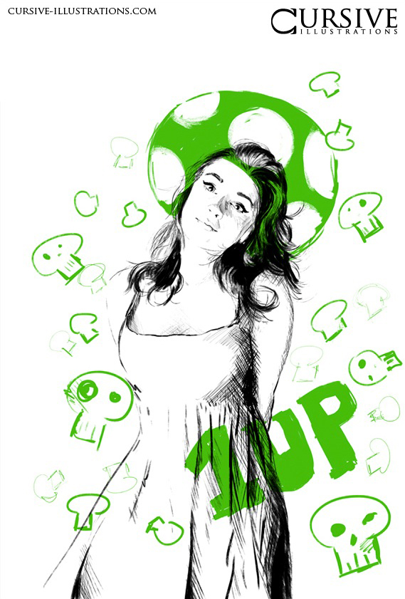 1 UP by cursive-illustration