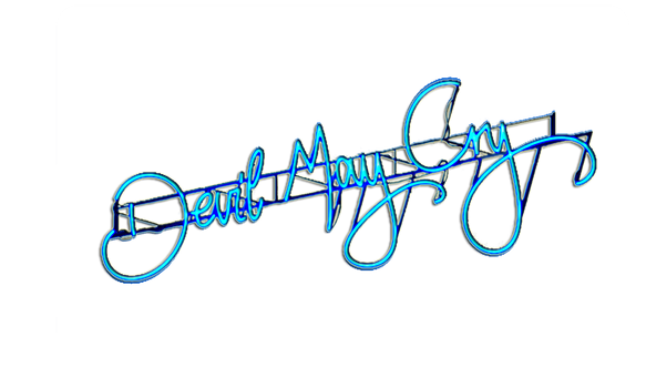 Devil May Cry 5  blue neon logo