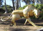 Gold Panther Statue Stock