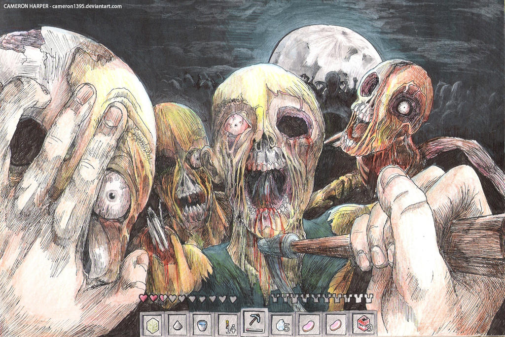 Minecraft Zombies by CameronHarperArt