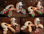 Lifesize Applejack laying plush with socks