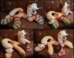 Lifesize Applejack laying plush with socks
