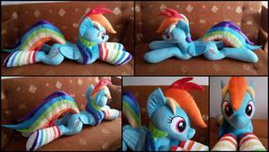 Lifesize Rainbow Dash plush with socks by RosaMariposaCrafts