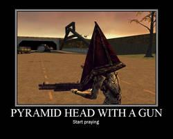 Pyramid Head With A Gun by Yohan-Gas-Mask