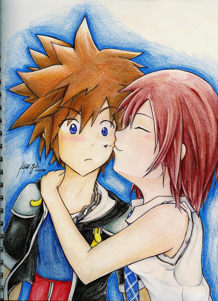 Sora and Kairi -REMAKE- by aoi-ryuu