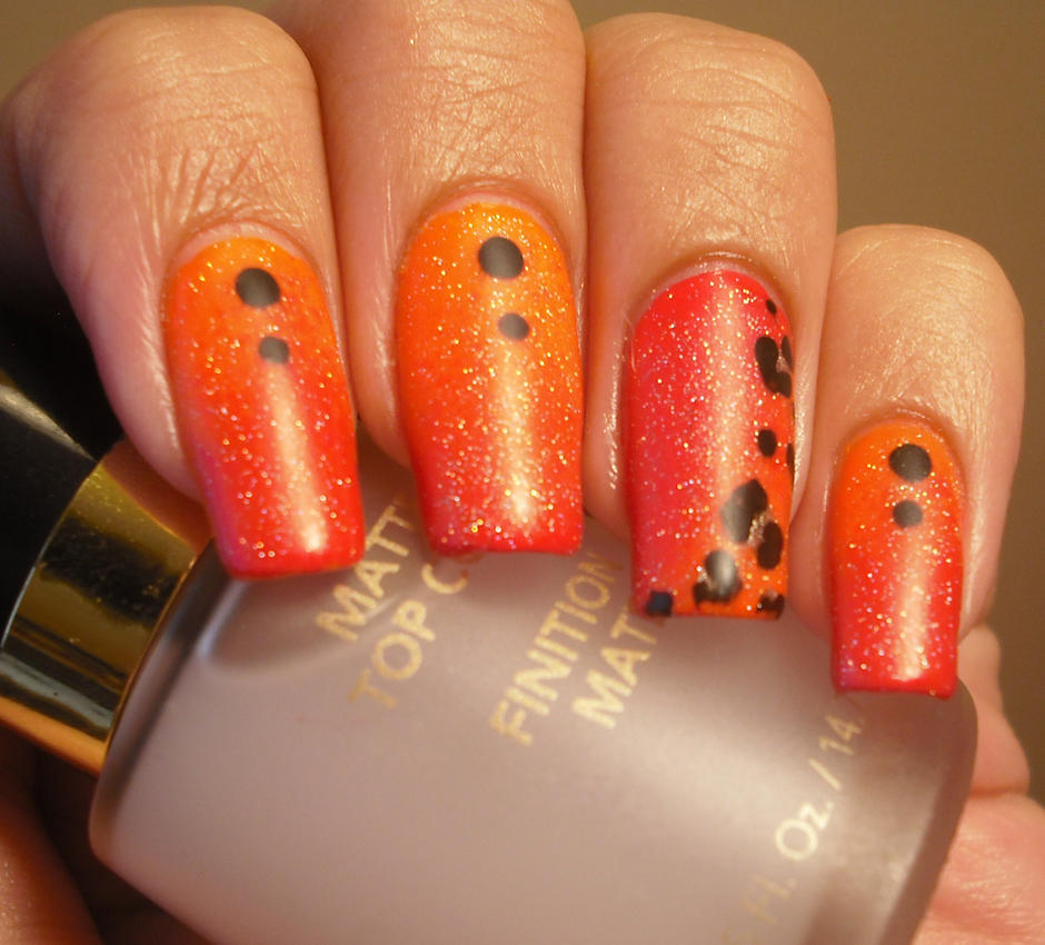 Orange And Pink Ombre Nails With Leopard Print By